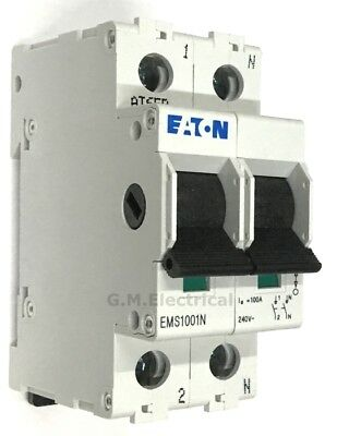 Eaton 100 Amp Double Pole Main Switch Disconnector Isolator Ems1001N 100A 2P