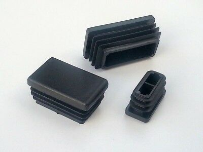 Rectangular Plastic End Caps Blanking Ribbed Plugs Inserts /Black