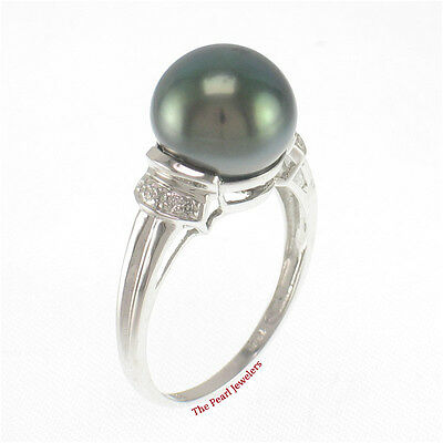 TPJ 10.4mm Genuine Black Tahitian Pearl 14k White Solid Gold Cocktail Ring