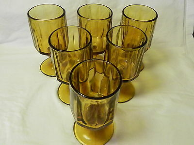 """Set of 6 - Retro Glass """"Amber"""" Stemmed Wine Glasses 8 sided Drinking Water Wine"""