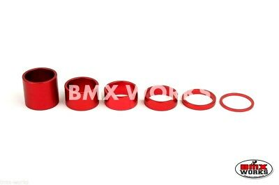 "BMX 1 1/8"" Red Headset Spacer Set of 6 Pieces"