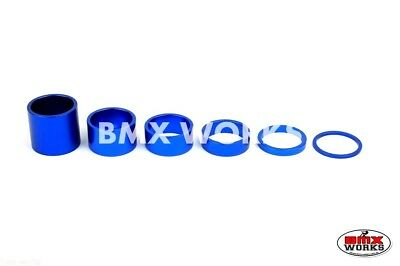 "BMX 1 1/8"" Blue Headset Spacer Set of 6 Pieces"