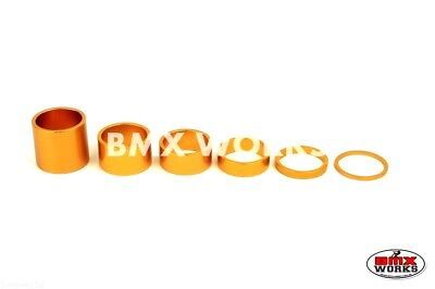 "BMX 1 1/8"" Gold Headset Spacer Set of 6 Pieces"