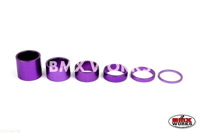 "BMX 1 1/8"" Purple Headset Spacer Set of 6 Pieces"