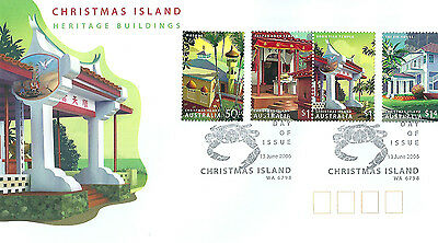 Christmas Island 2006 Heritage Buildings set on Australia Post first day cover