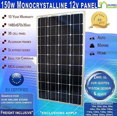 150W 12V Mono Solar Panel REAL 150 Watt 12 Volt New --- Freight Inclusive!*