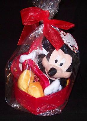 """Disney Mickey Mouse Plush 11"""" And Heart Photo Frame In A Heart Box New"""
