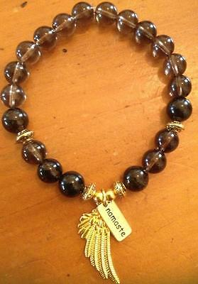 ॐCrystal Blissॐ Smoky Quartz Spiritual Bracelet w Angel Wings and Namaste Charms