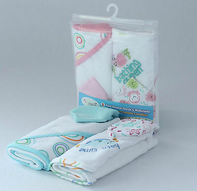 Set of 2 Superior Quality Cotton Blended Baby Hooded Towels w 2 FREE Wash Cloths