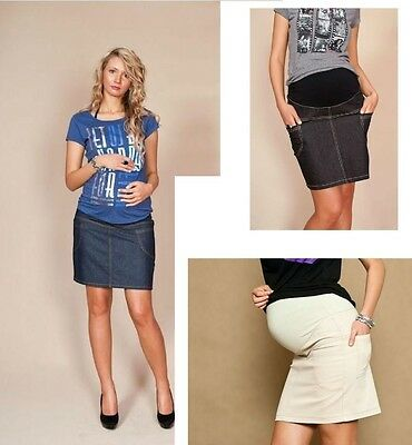 Classic Pregnancy Maternity Denim Skirt With Belly Band 8-16 Black Beige