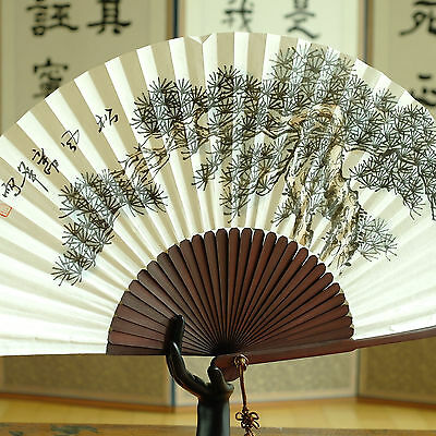 Korean traditional folding fan stylish pine tree hand colored mulberry paper