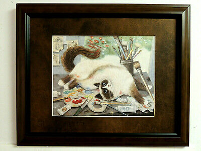Cat Picture Kitty Cat Rolling In Artist Paint Kitten Matted Framed 11X14