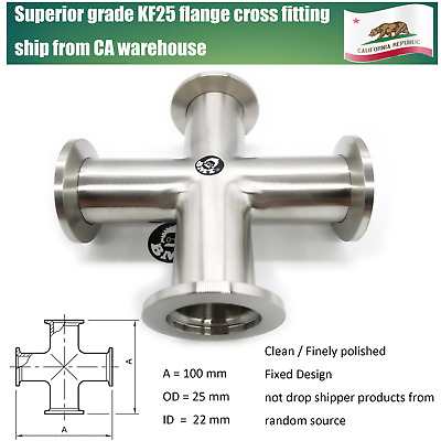 KF25 Cross 4-way vacuum adapter, all ends KF25 flange SS 304, finely polished