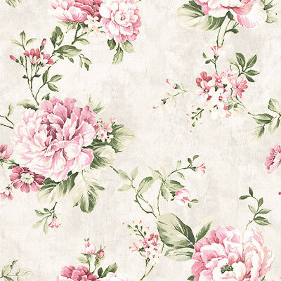 """Vintage Cream/Pink Roses Flower Gold Wallpaper Roll home wall decor 20.8""""x393.7"""""""