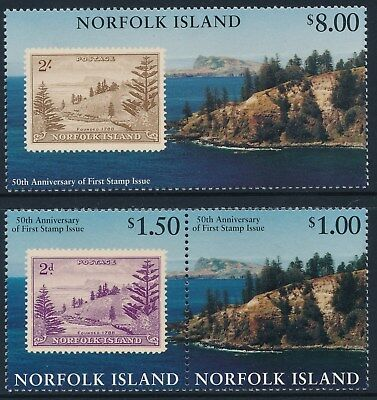 1997 NORFOLK ISLAND 50th ANNIVERSARY OF STAMPS SET OF 3 FINE MINT MNH/MUH