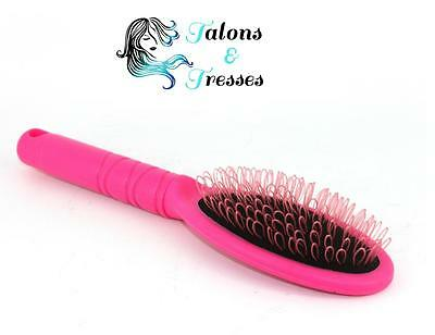 Pink Anti-Static Loop Brush for Human or Synthetic Hair Extensions After Care