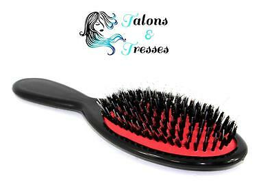 Anti-Static Bristle Brush for Human or Synthetic Hair Extensions After Care