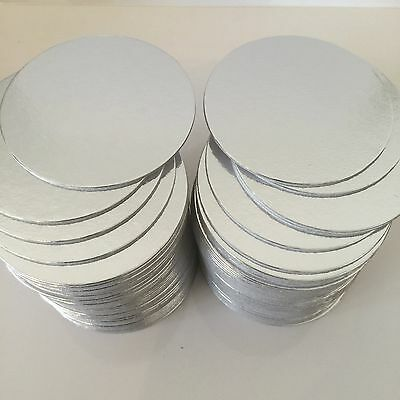"25 x 4"" inch ROUND SILVER THIN CUT EDGE cake boards cards sugarcraft CULPITT"