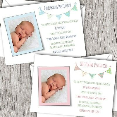 Christening Invitations Photo - Personalised - Baptism - Girl/Boy (Bunting)