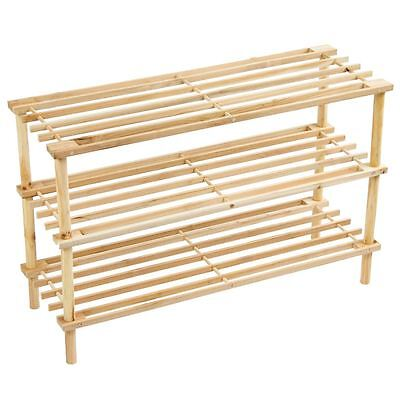 3 Tier Slated Shoe Rack Stand Unit Storage Shelf Natural Wooden By Home Discount
