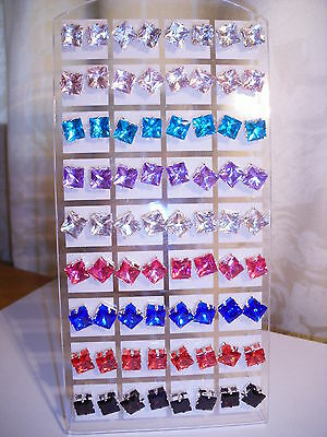 Joblot of 36 Pairs Mixed colour square 8mm Crystal stud Earrings - New wholesale