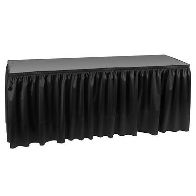 "Hoffmaster Poly Vinyl Pleated Fabric Black Table Skirt 14' x 29"" - 210461"