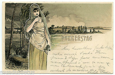 ARTIST SIGNED. H. FRüNDT. DONNERSTAG. JOLIE FEMME. BEAUTIFUL WOMAN. ART NOUVEAU