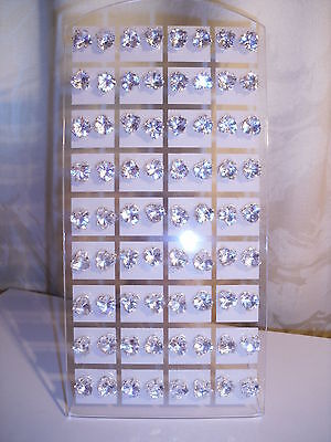 Joblot of 36 Pairs Clear Heart shape 8 mm Crystal stud Earrings - New wholesale