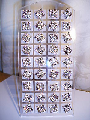 Joblot of 18 pairs Gold colour Square AB Diamante stud Earrings - NEW Wholesale
