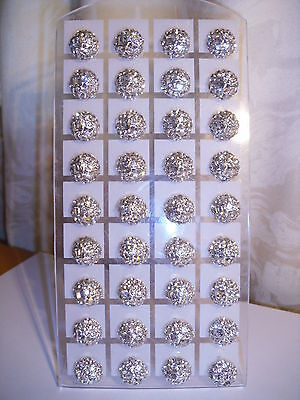 Joblot of 18 pairs silver colour round Diamante stud Earrings - NEW Wholesale