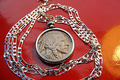 "Vintage About Uncirculated Buffalo Nickel on a 28"" 925 Silver Chain"