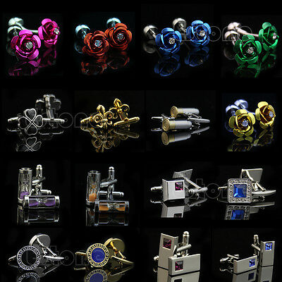 Lot Fashion Novelty Stainless Steel Golden Silvery Wedding Gift Men's Cuff Links
