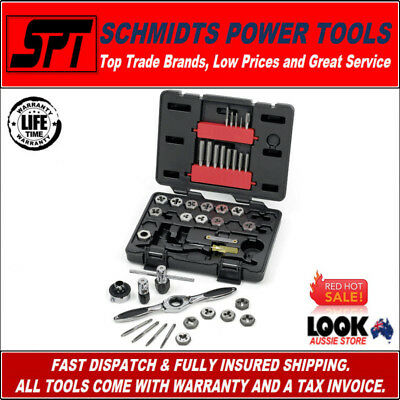 Gearwrench 3885 Sae Tap & Die Set With Ratcheting Drive Tool Imperial 40 Piece