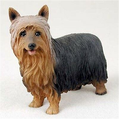 Realistic Elegant Hand Painted Silky Terrier Figurine in Cold Cast Resin
