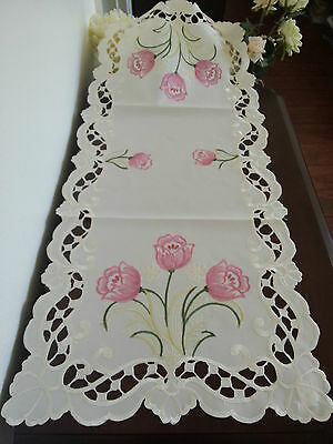 """16""""x36""""Embroidered Table Runner Pink Tulip Floral Tablecloth Topper Home Decor"""