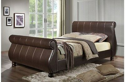 Stylish Sleigh Bed Brown Faux Leather 5ft 6ft King size with Mattress Options