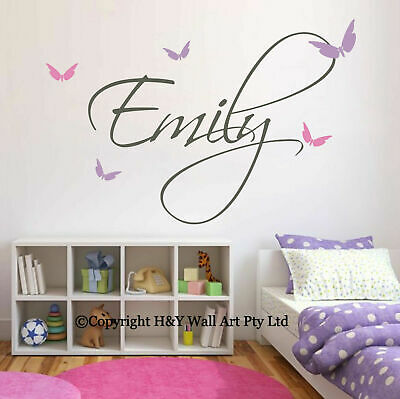 Butterflies Custom Personalized Name Wall Stickers Decals Kids Nursery Decor