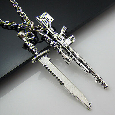 Free HOT Tibetan Silver Saber Sniper rifle Pendant Charm Military fans Necklaces