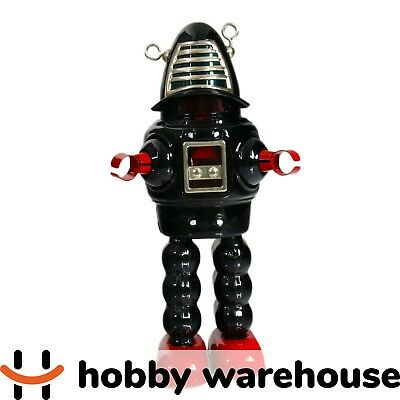 Black Retro Vintage Tin Windup Toy Planet Robot Spaceman