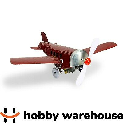 Retro Vintage Replica Tin Red Plane with Folding Wings Windup Toy
