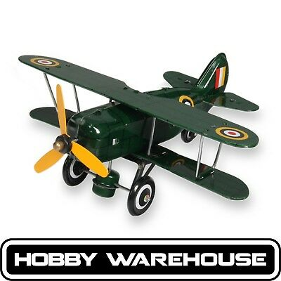 Green Curtiss Replica Vintage Tin Biplane Windup Toy