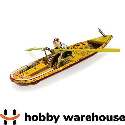 Retro Vintage Tin Row Sculler and Boat Paya Replica Windup Toy