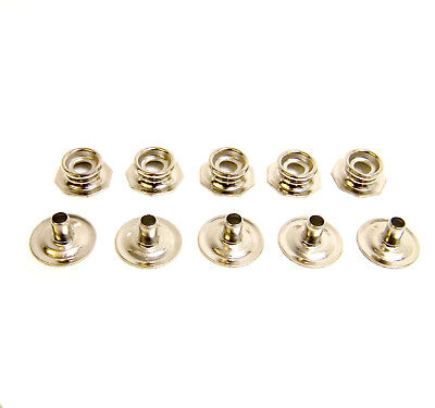 Pull The Dot Snap Fastener, Stud & Post Only, Nickel Plated Brass, 5 Piece Set