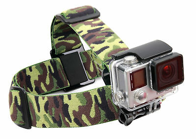 Green Camo Fully Adjustable Head Strap Mount for GoPro Hero 4, HERO, 3+, 3, 2, 1