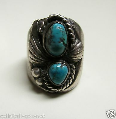Rare Old Heavy Silver & Turquoise Men's  Ring
