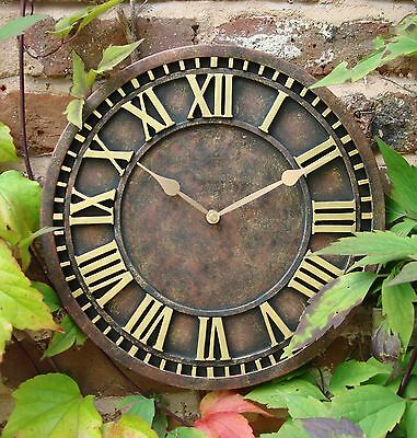 Outdoor indoor Garden Wall Clock  Hand Painted church clock 30cm rust 1088