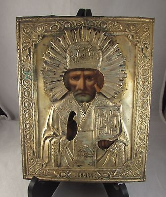 Antique St Nicholas Russian Ikon Mockba 19th Icon
