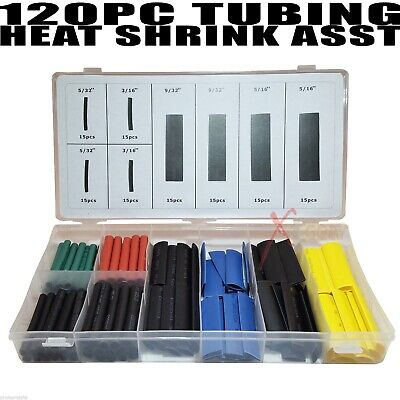 120Pc Tubing Heat Shrink Wire Wrap Assortment Set Electrical Connection Cable