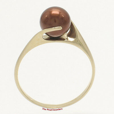 14k Solid Yellow Gold; AAA 6.5-7mm Round Chocolate Cultured Pearl Solitaire Ring
