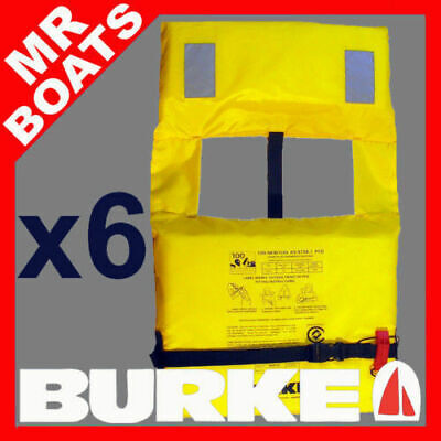 6 X BURKE ADULT LIFEJACKET Level L100, PFD1 FREE WHISTLE Life Jacket FREE POST